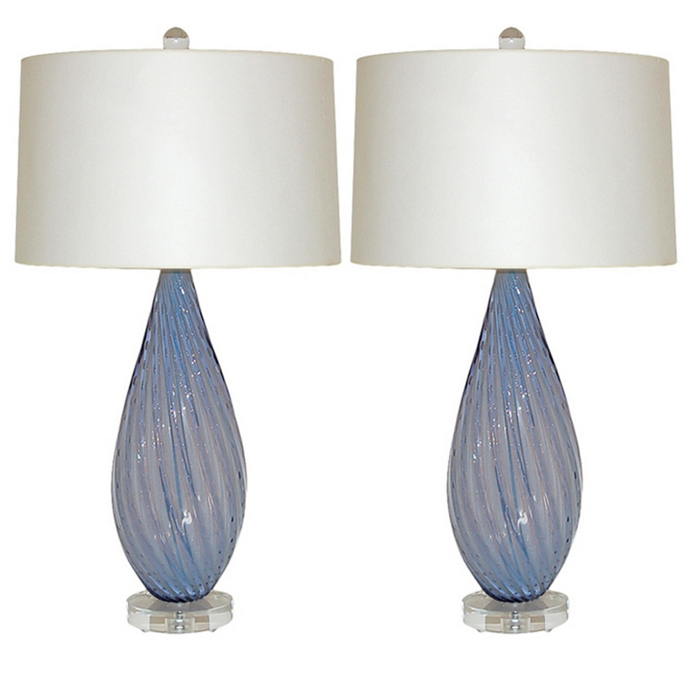 Almond Shaped Vintage Murano Opaline Lamps in Lavender | via :: Swank Lighting