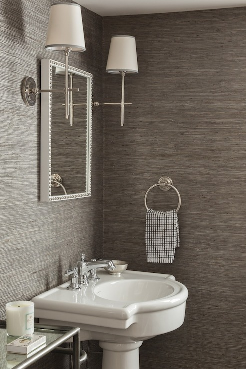 Inspirational powder room designsbrettvdesignblog for Gray bathroom wallpaper