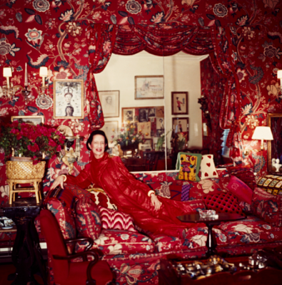 "diana vreeland at home in her ""Garden in Hell"" room.  Photo :: Horst P. Horst, 1979"