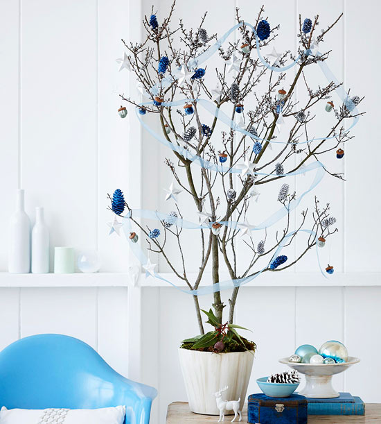 branch-tree-blue-and-silver-ornaments-ribbon-holiday-decor