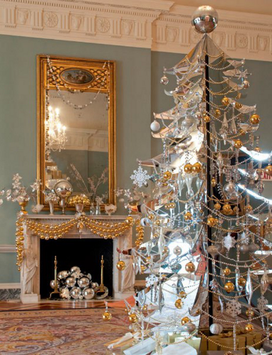 silver-foil-tree-metallics-silver-gold-the white house