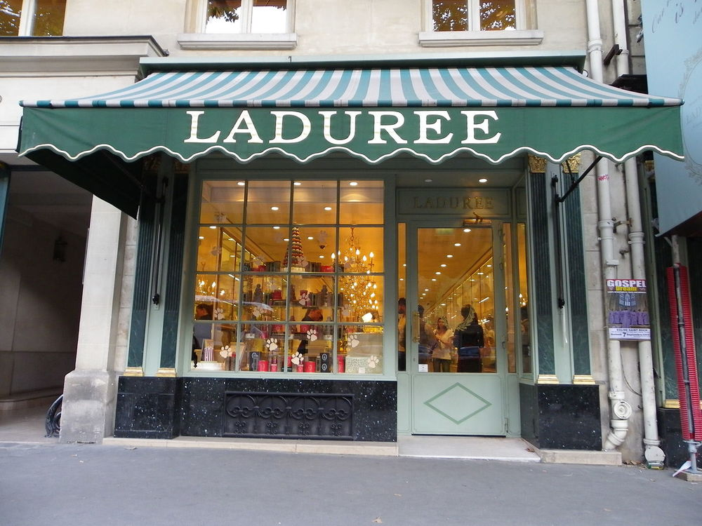 The famous Ladurée shop on the Rue Royale in Paris {via wikimedia commons}