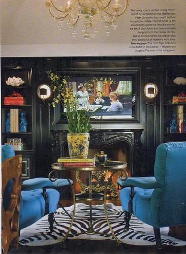 glam+study+fireplace+zebra+rug+brettVdesign