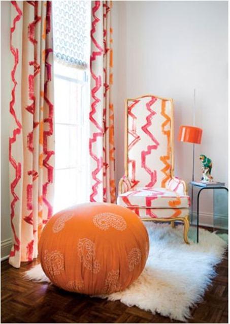 living+room+hot+pink+tangerine+jim+thompson+bamboozled+brettVdesign