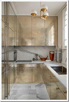 jean-louis deniot+hammered+brass+kitchen+cabinets+paris+brettVdesign