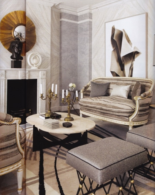 A London apartment designed by Jean-Louis Deniot, seen in Architectural Digest Italia