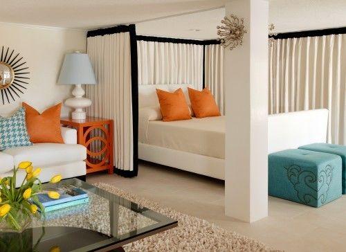 sleeping area+curtains+studio apartment+brettVdesign