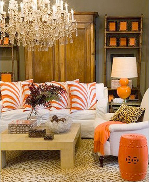 living+room+orange+zebra+leopard+rug+via+brettVdesign