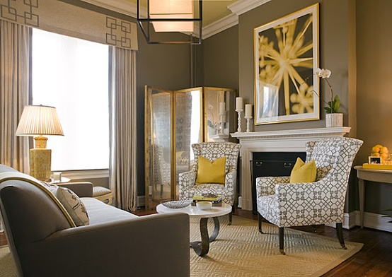 yellow and gray living room. via your nest design Color Love  Gray YellowbrettVdesignblog