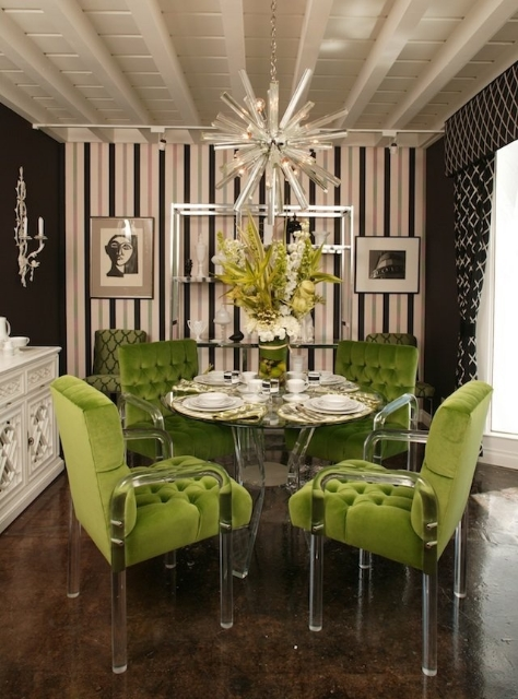 Line+green+lucite+dining+chairs+lucite+chandelier+brettVdesign