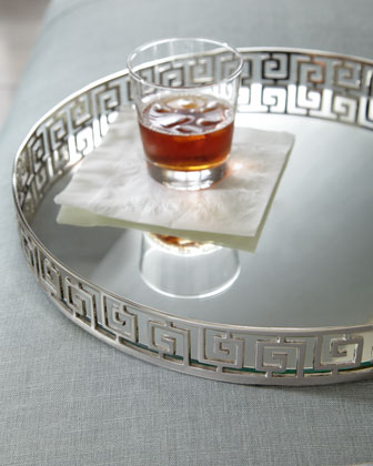 silvery greek key tray from horchow