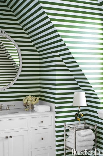ruthie sommers-designed bathroom with green and white horizontal stripes
