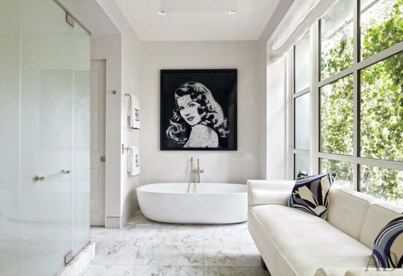 pampelmousse designed contemporary bathroom with steam shower, soaking tub and sofa