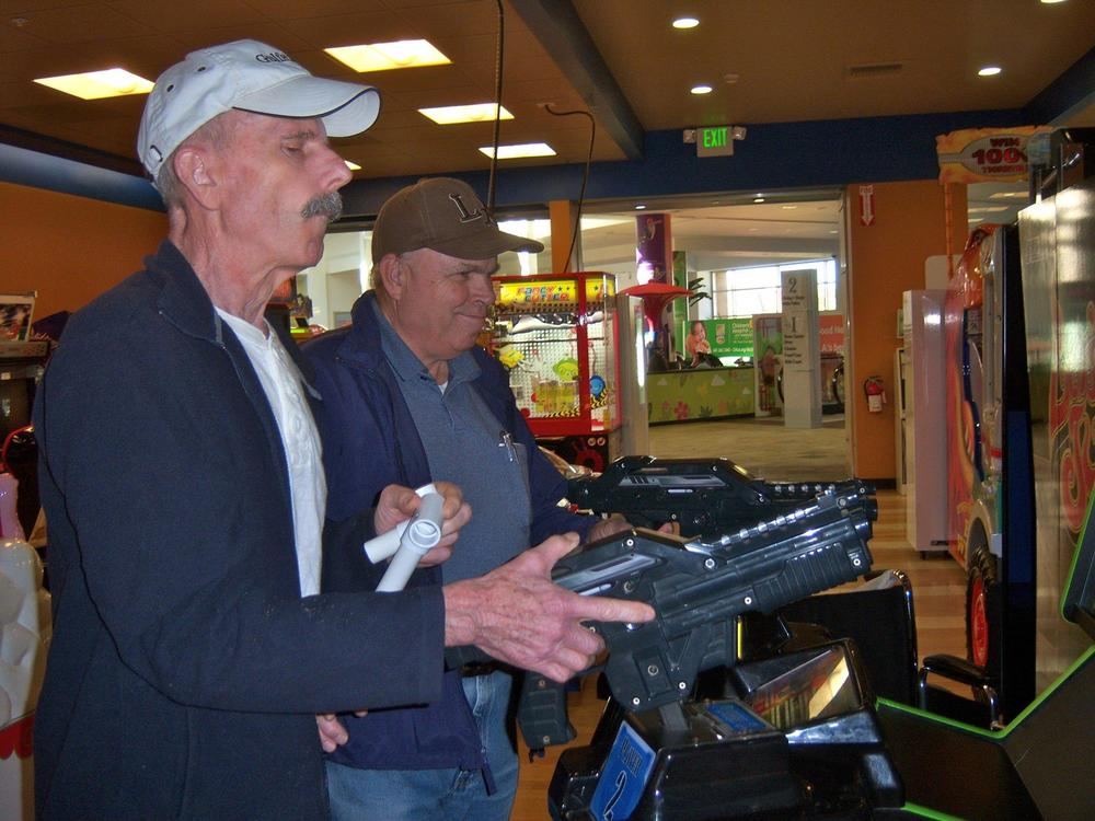 Shooting practice in the arcade