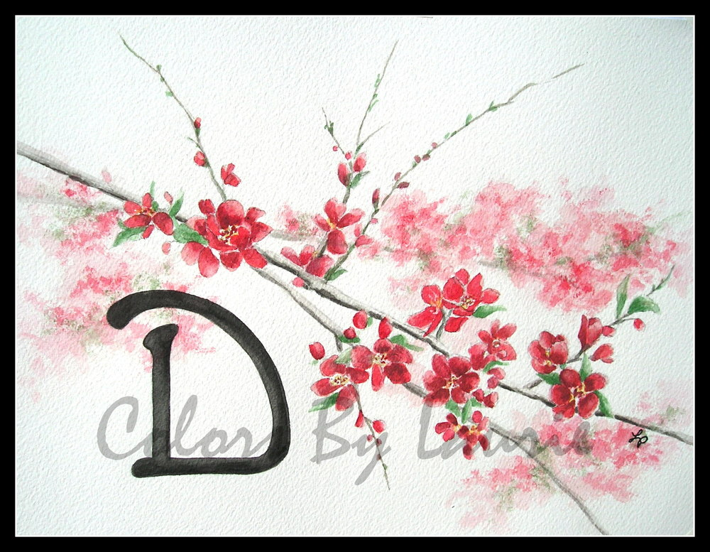 """Red Cherry Blossoms"" Monogram with digital watermark added"