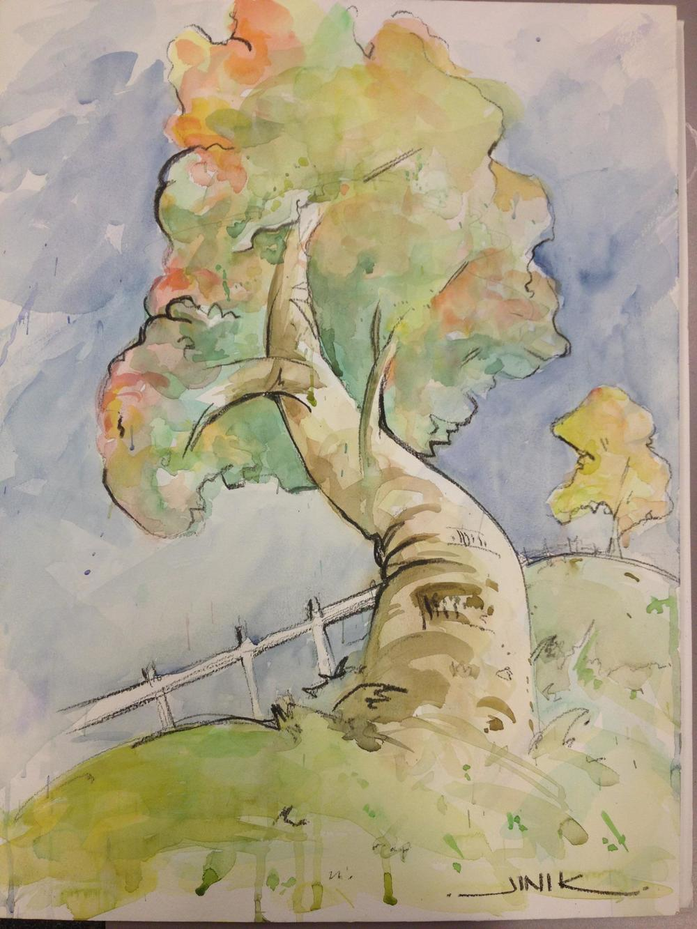 "Original Painting for the Loved Ones group by Jini Keasling Illustrating Jeremiah 17:5-8 ""For he will be like a tree firmly planted..."""