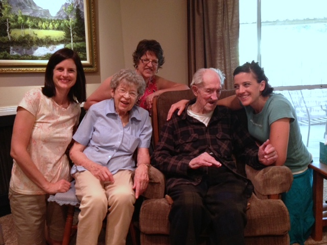 There was a special visit with my parents who live across the street.  Here's 3 of the generations together.  My dad's 95!