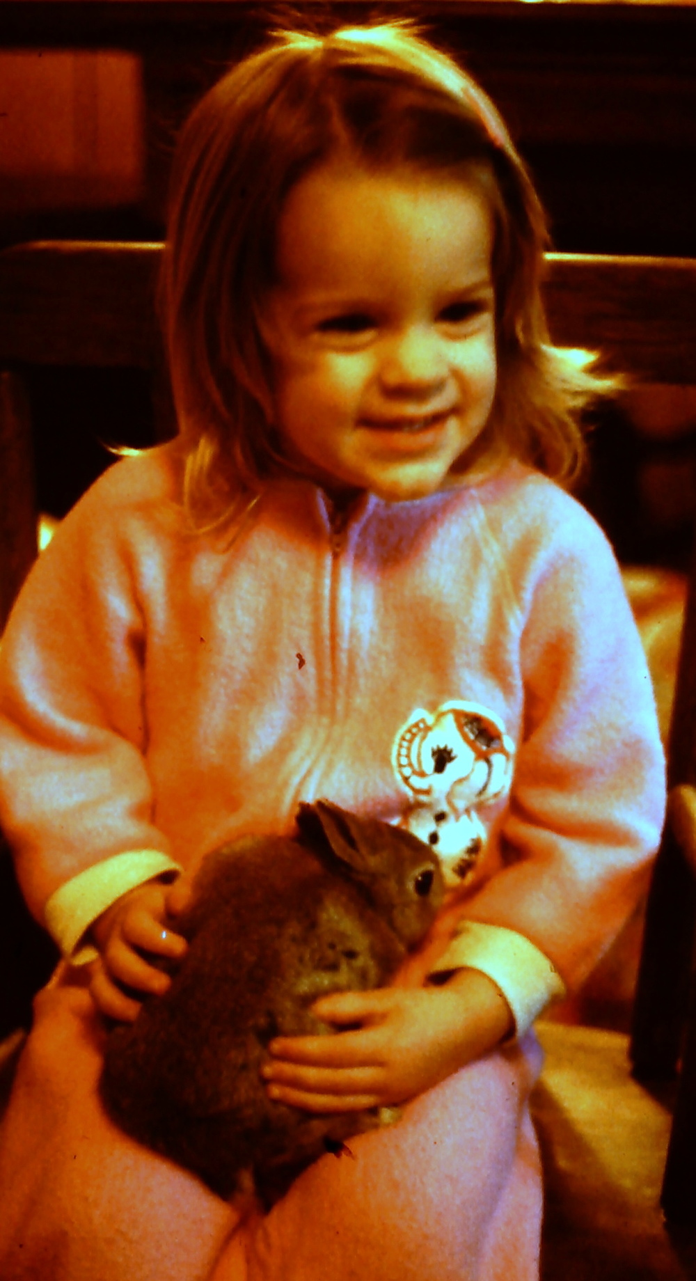 Christmas morning 1977.  Sarah and Sniffy.