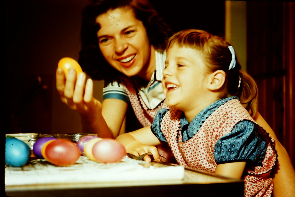 My mom and I getting ready for Easter.