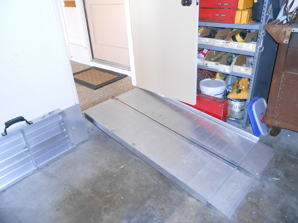 Ramps for wheelchair or walking.  (Note portable ramp at side. Handy when visiting others.)