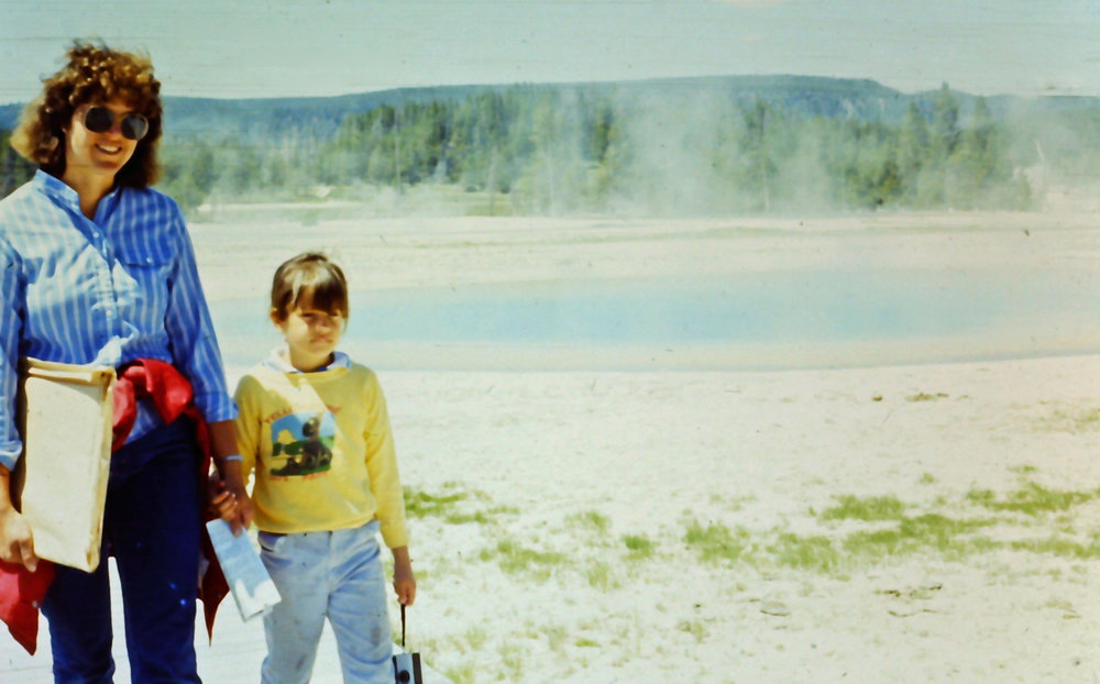 Laurie & April - Upper Geyser Basin - YNP - 1986 (note the Yellowstone sweatshirt.  You'll see it again in 2017)