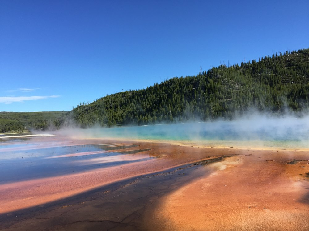 Grand Prismatic Spring photo doesn't do justice to it's size.  Midway Geyser Basin - YNP