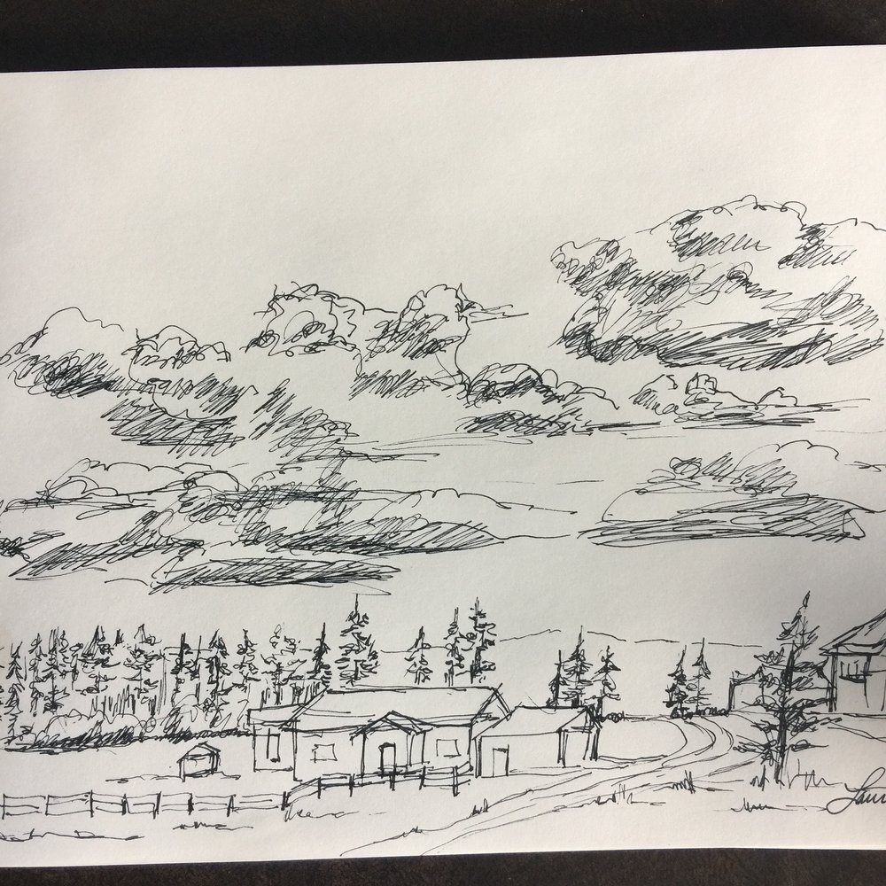 I had a very little time for art, but managed to sketch the scene from our back porch in West Yellowstone area.