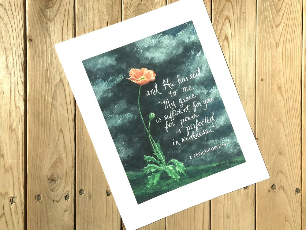 "POPPY IN STORM - ""and He has said to me 'My grace is sufficient for you for power is perfected in weakness.""  1 Corinthians 12:9    -  SIZE: 8 X 10"