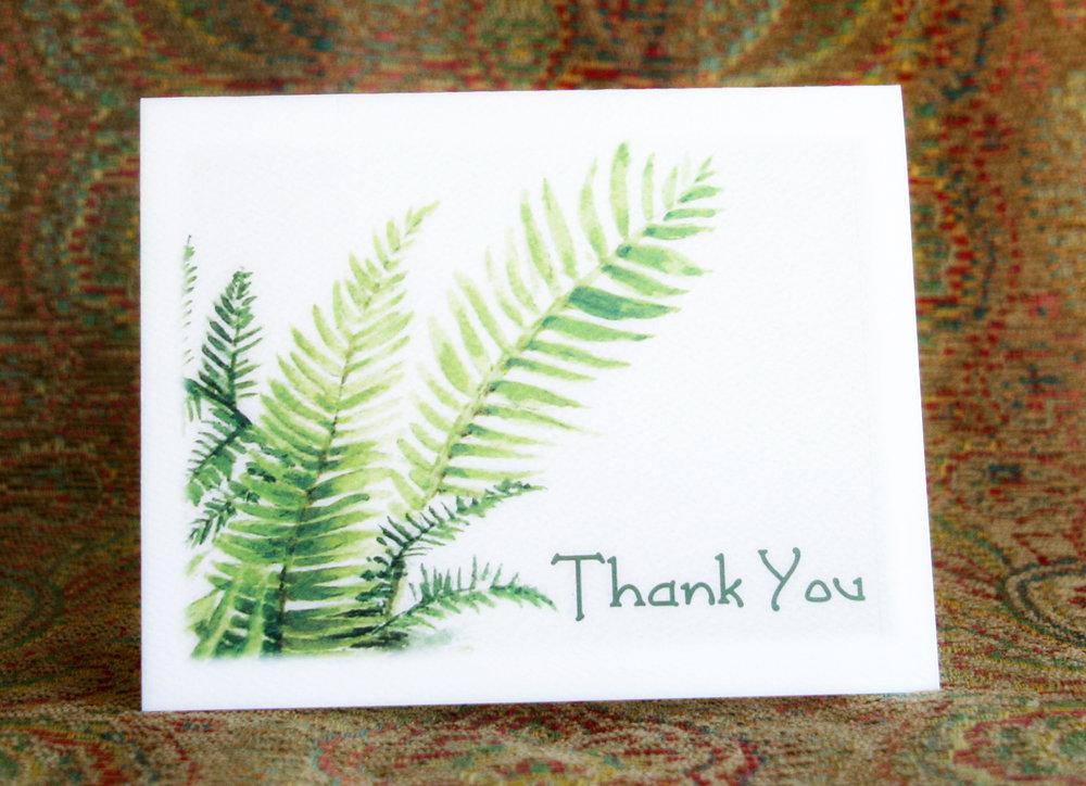 FERN THANK YOU - 8 Cards - Blank inside