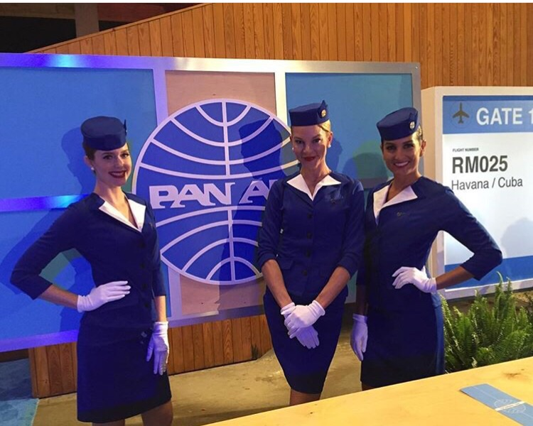 Stewardess greeted gusts and handed them custom made boarding passes for MIA-HAVANA flight. Stewardess uniforms by @modfinds