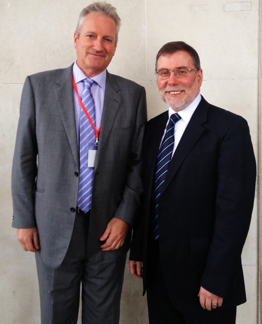 Lawmaker: Kevin (left) meets Social Development Minister Nelson McCausland