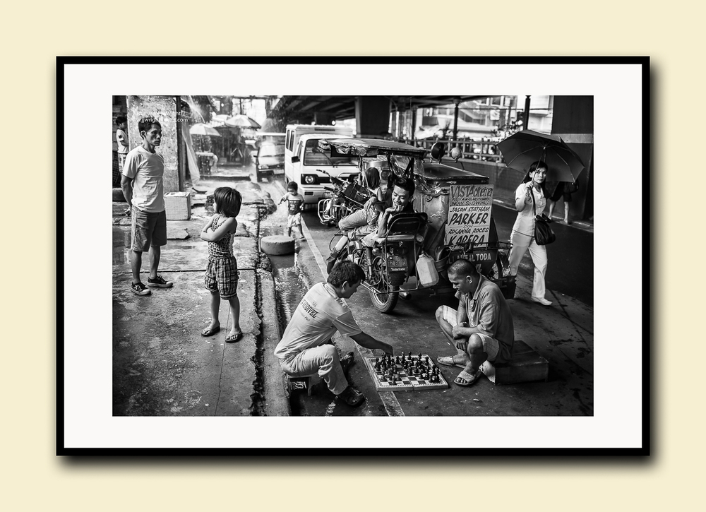 On the Street, Pasay City, Manila, Philippines. Fine art print on textured cotton paper, double matted (archival) with hardwood frame. Available in print sizes A4, A3, A2 and A1.