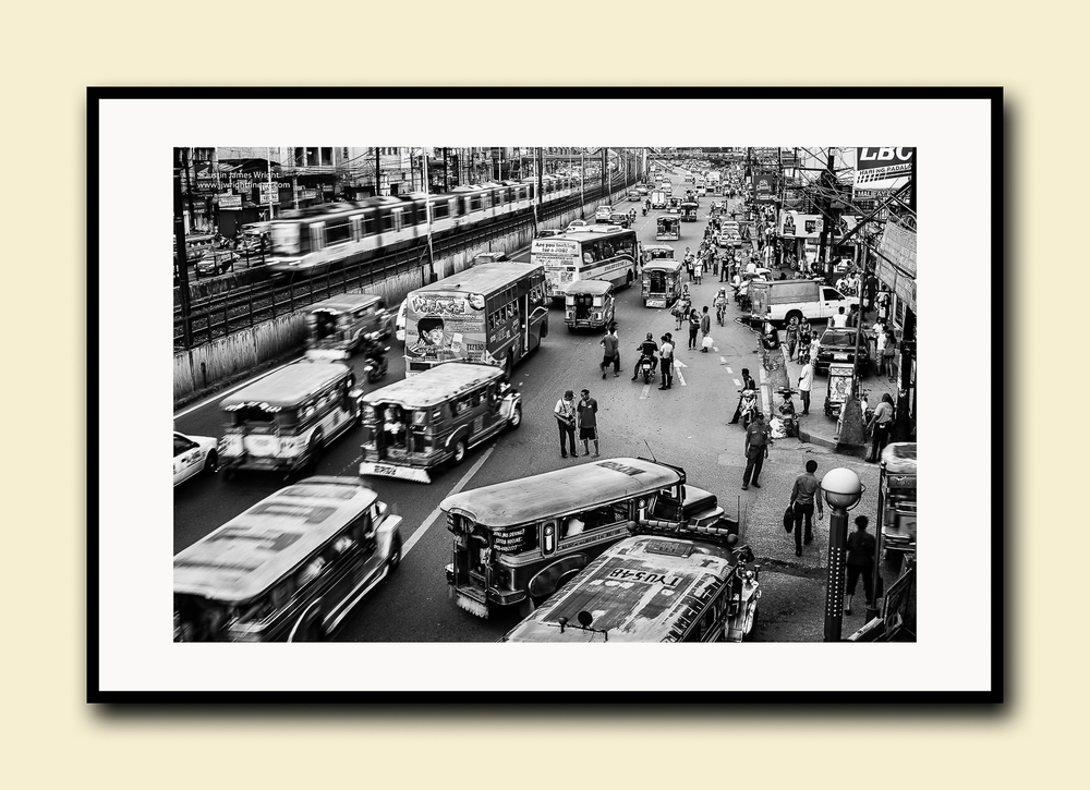EDSA, Pasay City, Manila, Philippines .Fine art print on textured cotton paper, doublematted (archival)with hardwood frame.Available in printsizes A4, A3,A2 and A1.