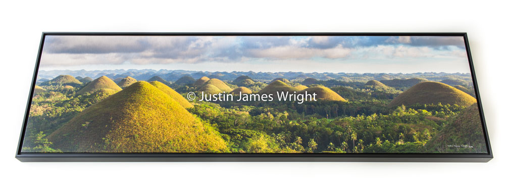 """Chocolate Hills, Bohol, Philippines   Framed Archival 100% cotton canvas print - Size 15"""" x 55""""  Price at Php 36,000  Free Delivery within Metro Manila  Credit Card Payments Accepted (Visa & Mastercard)  To order please email us at: jjwrightfineart@gmail.com  (Other sizes available)"""