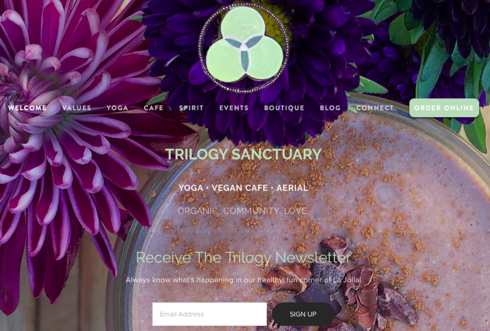 Yoga Studio, Vegan Cafe and Event Space Website - Web build, photography, brand and content/copy refresh.