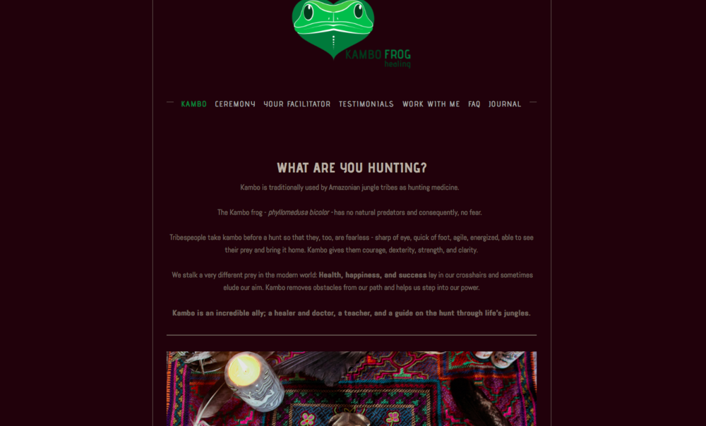 KAMBO PRACTITIONER WEBSITE:   Web build, brand photography, copyediting, palette and typeface design.