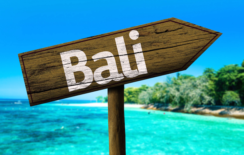 Bali sign on the beach