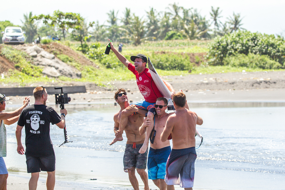 As is tradition Taj Burrow will be carried up the beach by his close mates and handed an ice cold bintang to celebrate the win.PhotoHampositive