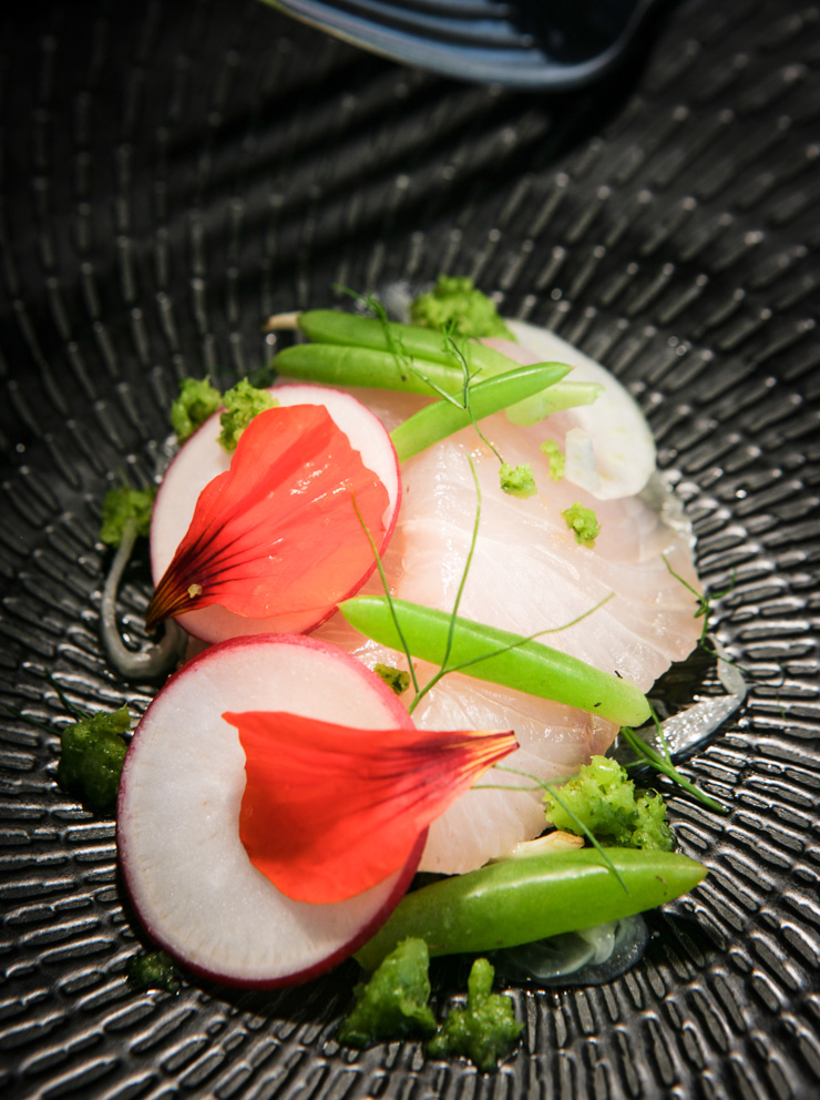 Iran - Cured Clean Seas Hiramasa kingfish , chill selidri, pomelo.