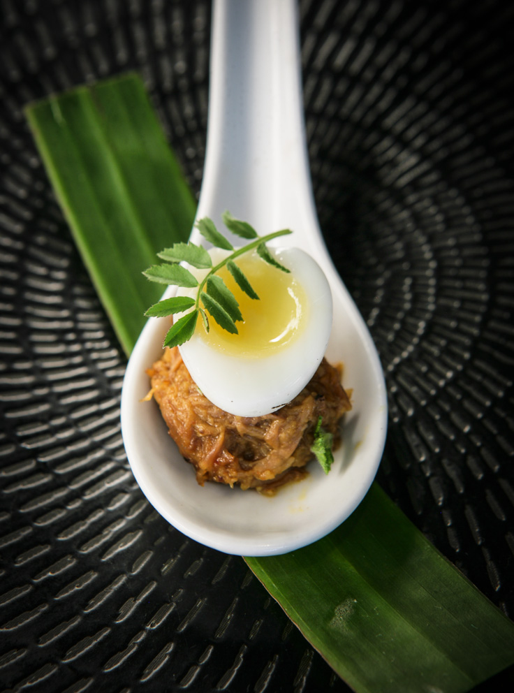 Tenor - Quail egg, goat rendang, green chili.