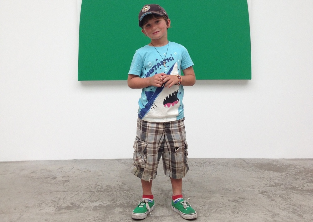 Boy in front of an Ellsworth Kelly