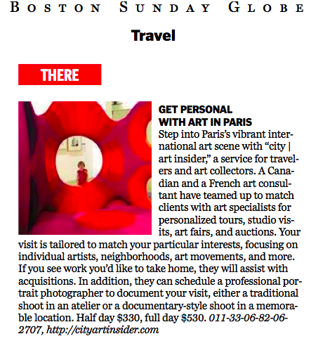 city | art insider gets a write-up in The Boston Globe, January 06, 2013.