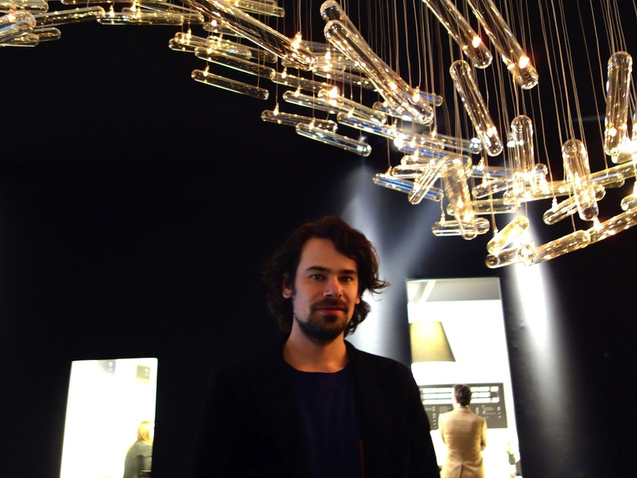 Ralph Nauta and one of his suspension lamps, Carpenters Workshop Gallery