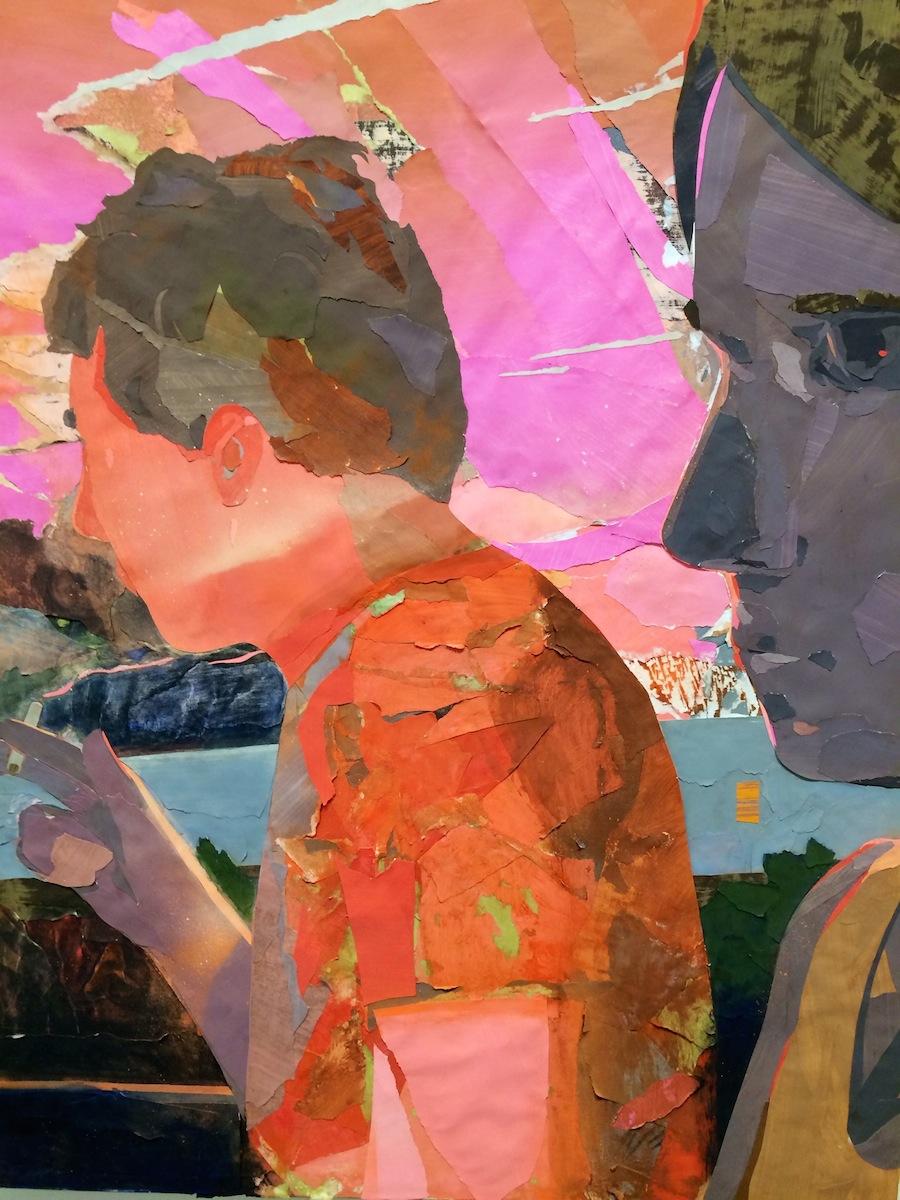 Matt Bollinger, Steel Rails, 2013, Flashe, acrylic et collage sur toile, 90 x 72 cm