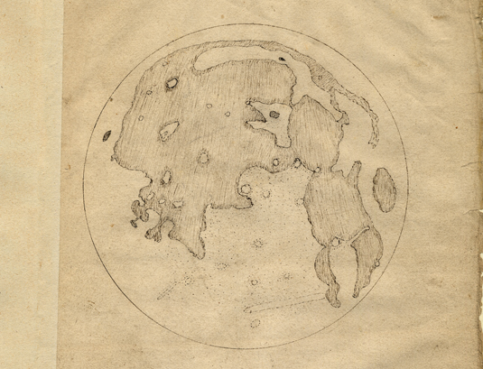 Thomas Harriot's 1st moon drawing