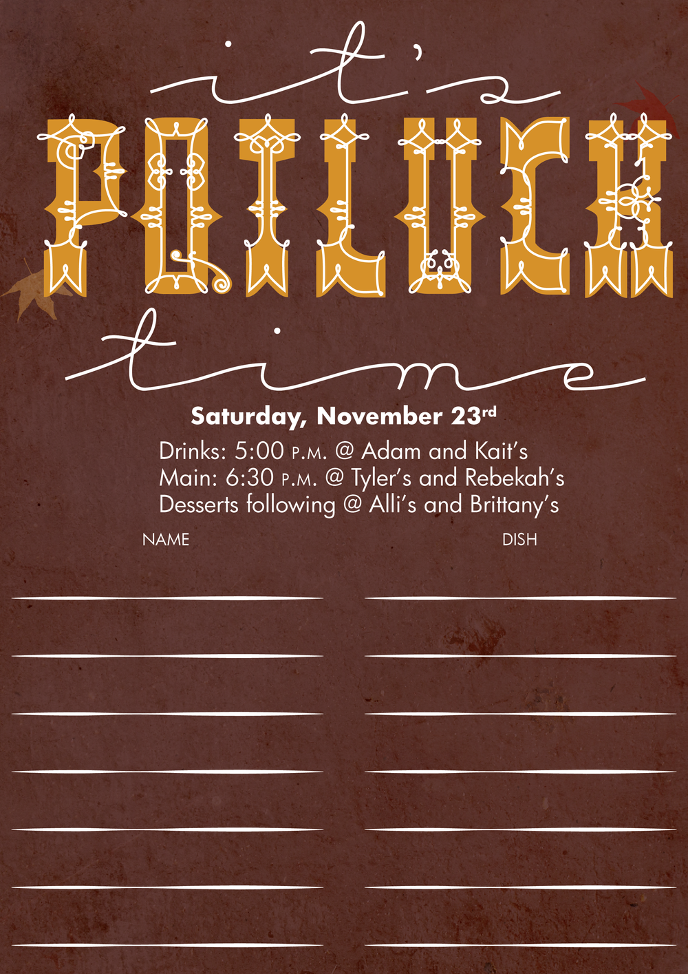 Thanksgiving Sign Up Sheet 2013 Signup