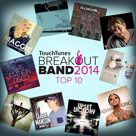 We have been namedone of Touch Tunes' top 10 Breakout Bands!