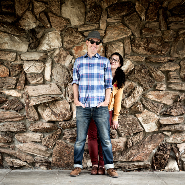 Andrew Barkan and Polly Hall, standing