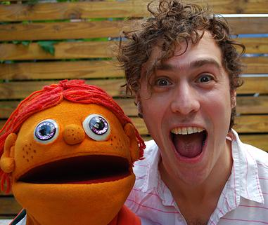 Jason Rabinowitz with puppet