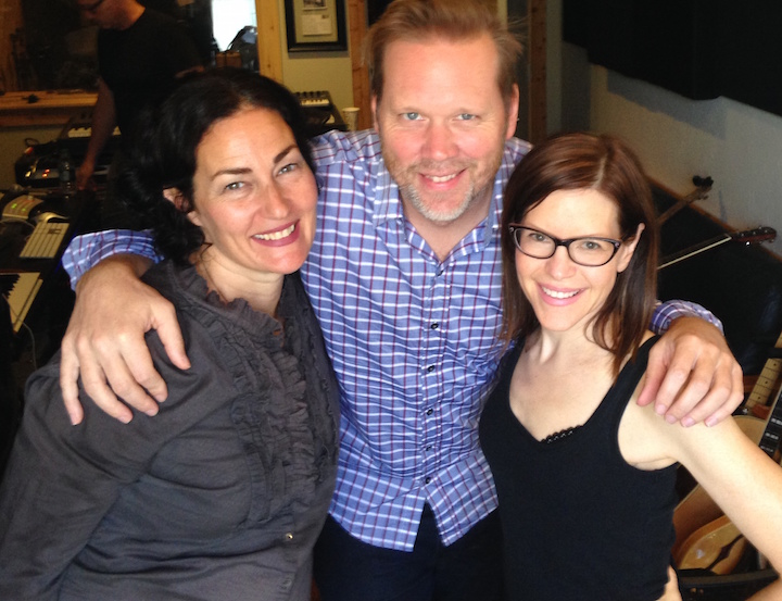 Renee Stahl, Rich Jacques, and Lisa Loeb in the studio